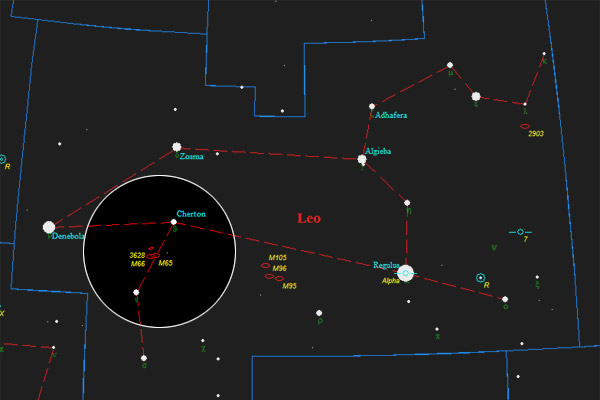 Annotated finder chart for the Leo Triplet. Original chart from the TUBA Atlas.
