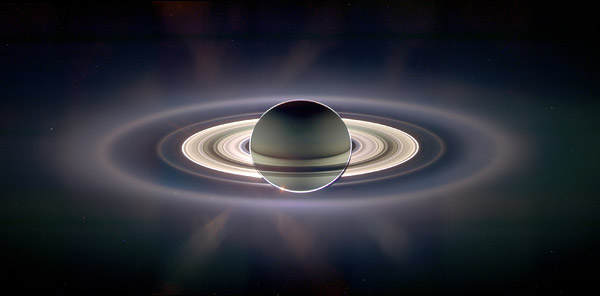 Enhanced image of Saturn eclipsing the Sun taken in 2006 by the robotic Cassini spacecraft. Courtesy NASA/JPL.
